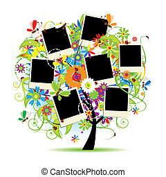 família, album., photos., árvore, floral, bordas, seu