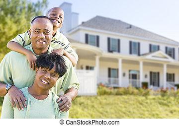 família, americano, atraente, africano, frente, lar