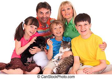 família, animais estimação
