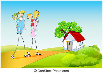 família, ao ar livre