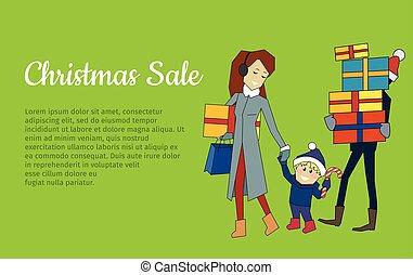 família, banner., venda, presentes, ir, natal