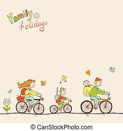 família, bicicleta, duas crianças, fa, viajando, encantador, amigável