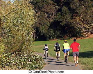 família, bicicletas equitação