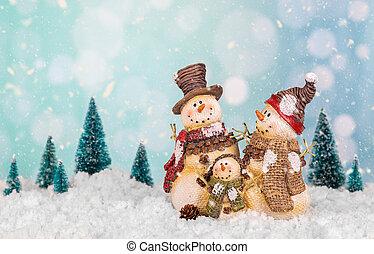 família, bonecos neve, cena, wintery