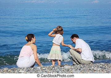 família, borda, de, mar