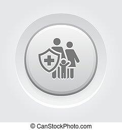 família, botão, cinzento, icon., seguro, design.