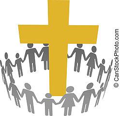 família, círculo, cristão, comunidade, crucifixos
