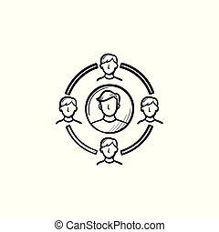 família, círculo, mão, desenhado, esboço, icon.