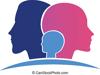 família, cabeças, logotipo
