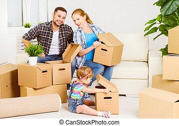 família, caixas, em movimento, novo, papelão, home., feliz
