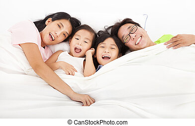 família, cama, feliz