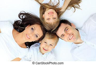 família, cama, seu, lar, mentindo