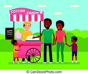 família, candy., compras, park., africano, leisure., divertimento, algodão