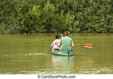 família, canoa, tour., pai, kayak, criança, remar
