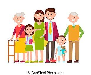 família, cartaz, ilustração, vetorial, membros, feliz