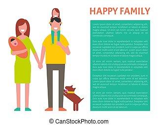 família, cartaz, ilustração, vetorial, pais, feliz