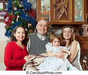 família, casa, em, tempo natal