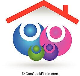 família, casa, logotipo