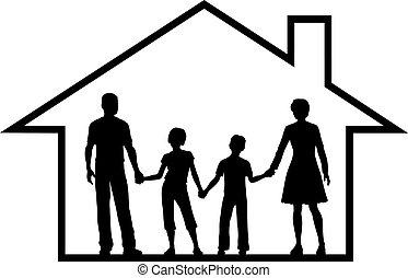 família, casa, pais, crianças, dentro, cofre, lar