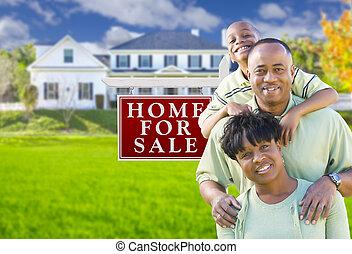 família, casa, sinal venda, americano, africano, frente