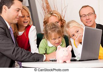 família, com, consultor, -, finanças, e, seguro