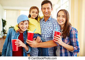 família, com, soda