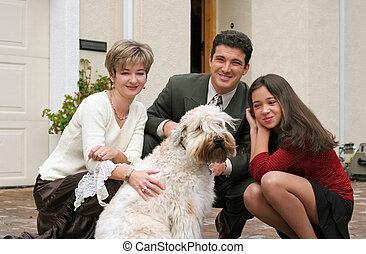 família, com, um, cão