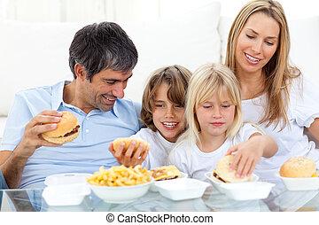 família come, alegre, hamburgers