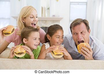 família come, cheeseburgers, junto