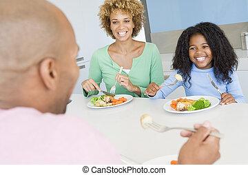 família come, um, refeição, junto