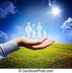 família, conceito, em, seu, mão, -, cena