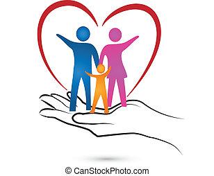 família, coração, e, mão, logotipo