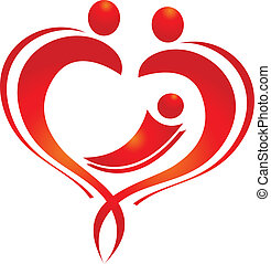 família, coração, logotipo