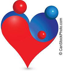 família, coração, união, figuras, logotipo