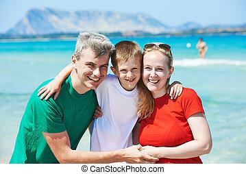 família, criança, mar