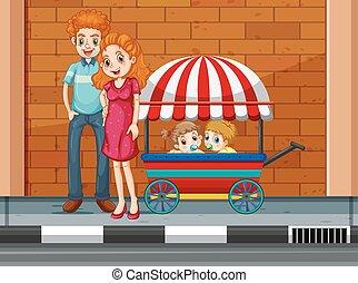 família, crianças, carreta