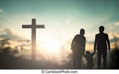família, crucifixos, elogio, orando, adoração, concept:, antes de