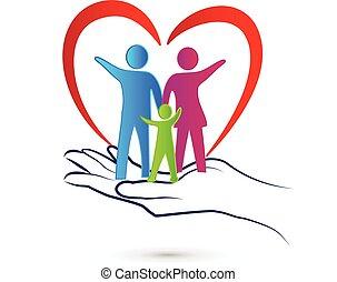 família, cuidado, logotipo