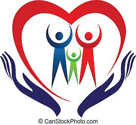 família, cuidado, mãos, e, coração, logotipo