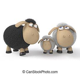 família, de, cordeiros