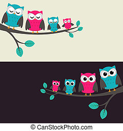família, de, corujas