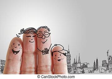 família, dedo