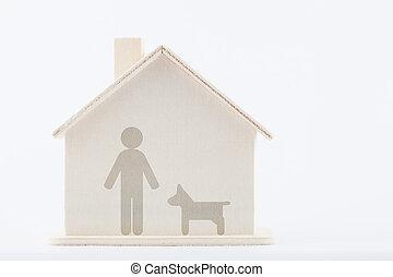 família, diversidade, concept:, homens, com, cão, casa