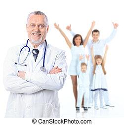 família, doutor, pacientes, sobre, isolado, fundo, saúde, cuidado, branca