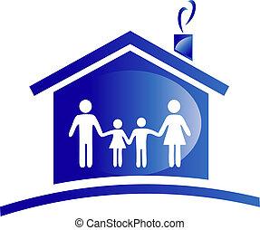 família, e, ícone casa, logotipo