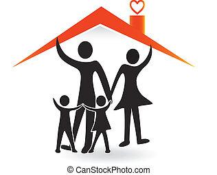 família, e, casa, de, amor, logotipo