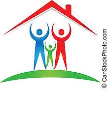 família, e, casa, logotipo