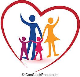 família, e, coração vermelho, logotipo