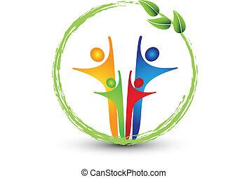 família, e, ecologia, sistema, logotipo