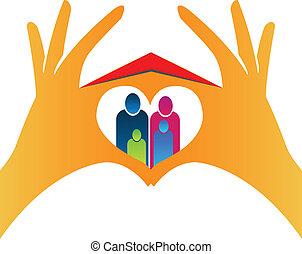 família, e, mão, casa, de, amor